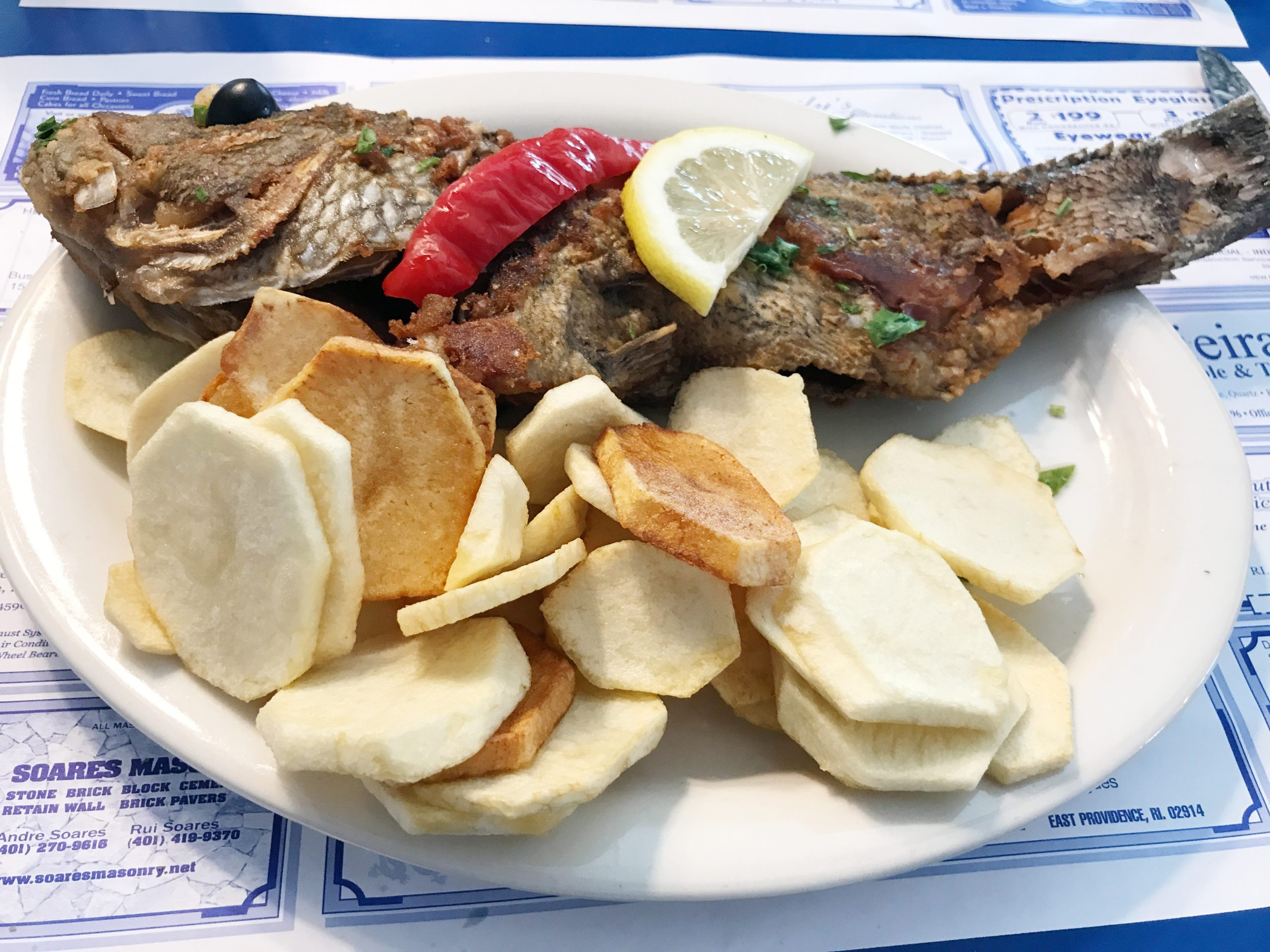 whole red perch fried at O Dinis Restaurant